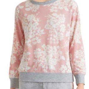 Splendid Pink Floral Print Crewneck Sweatshirt EUC
